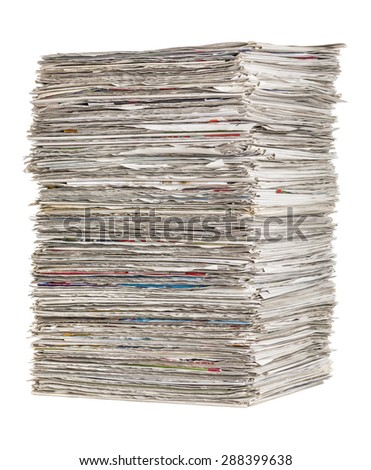 Stack of newspapers on a white background - stock photo