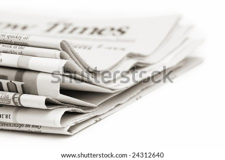 stack of newspapers, toned