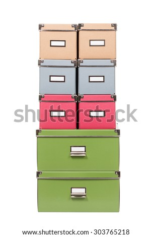 stack of office cardboard boxes isolated on white background - stock photo