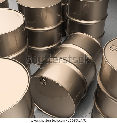 Stack of oil drums. Rows of sreel barrels - stock photo