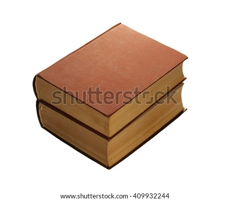 Stack of old antique big books isolated on white background - stock photo