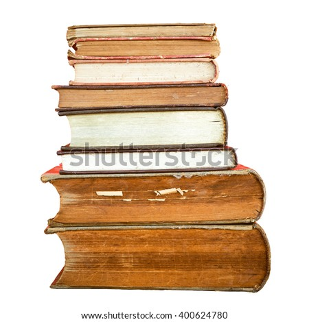 Stack of old book isolated.