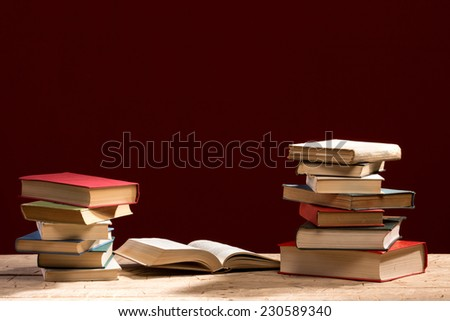stack of old books, copyspace for your text - stock photo