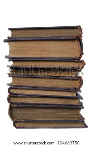 stack of old books isolated