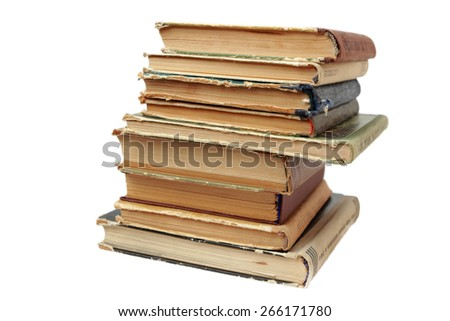 stack of old books isolated - stock photo