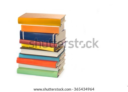Stack of old books isolated on a white background - stock photo