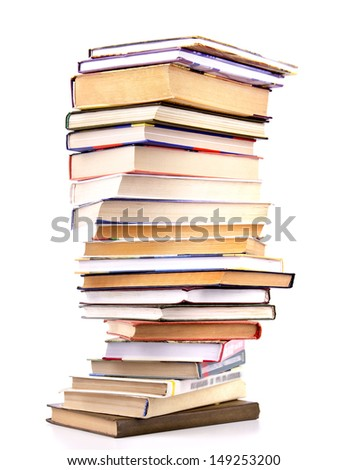 Stack of old books isolated on white background.