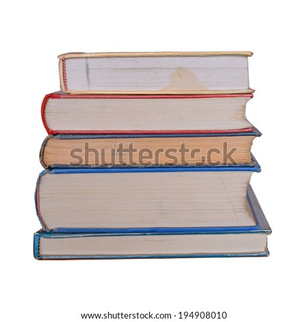 Stack of Old books isolated on white  clipping path - stock photo