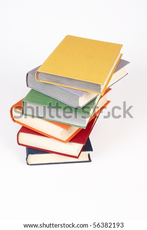 Stack of old books  on a light background