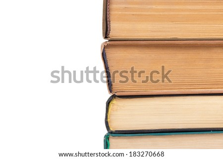 Stack of old books on a white background - stock photo