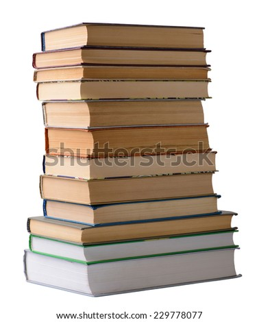 stack of old books on a white background closeup