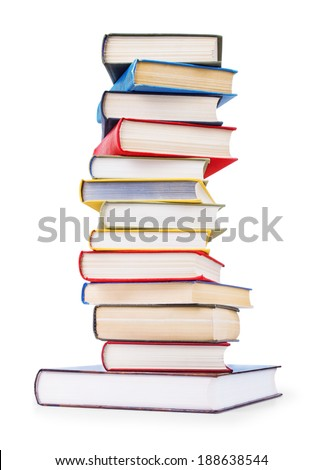 stack of old books on an isolated white background - stock photo