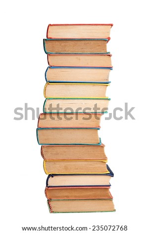 Stack of old books on white - stock photo