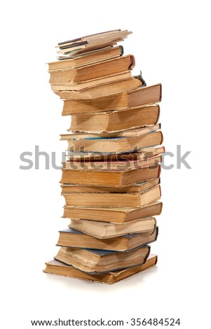 Stack of old books over white - stock photo
