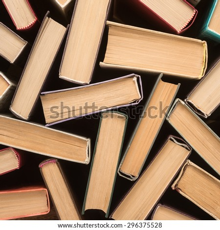 Stack of old hardback books, close-up   - stock photo