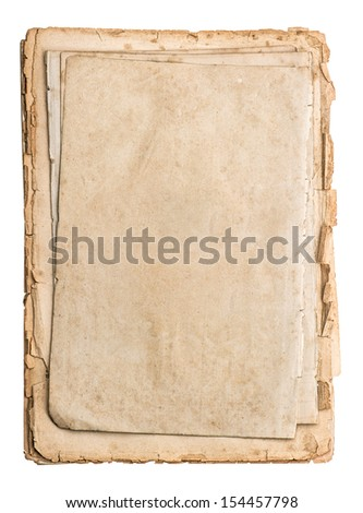 stack of old papers isolated on white background. antique book pages - stock photo