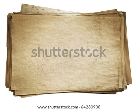 stack of old papers isolated on white background with clipping path - stock photo
