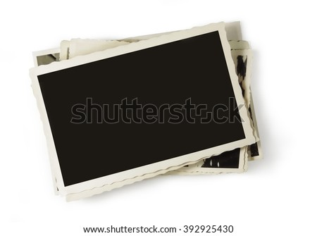 stack of old photos, blank with copy space. Isolated on white           - stock photo