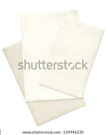 Stack of old photos isolated on white background