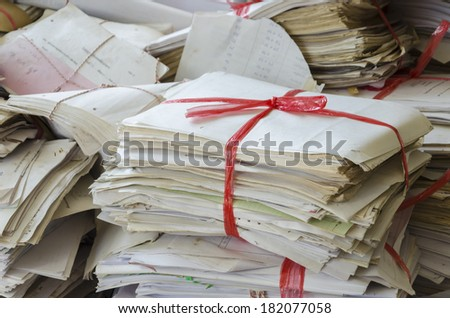 Stack of old recycle paper - stock photo