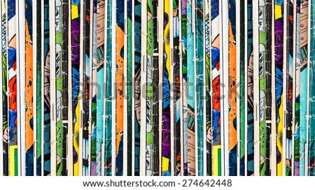 Stack of old vintage comic books background texture - stock photo