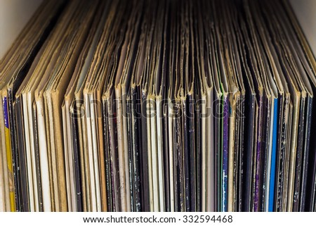 Stack of old vinyl records - stock photo