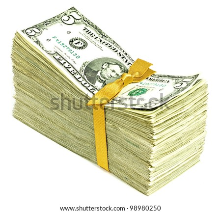 Stack of Older United States Currency Tied in a Ribbon - Fives - stock photo