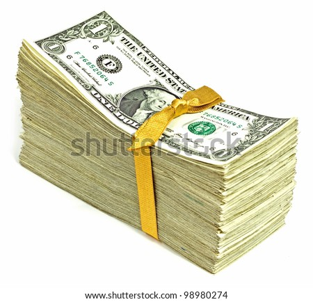 Stack of Older United States Currency Tied in a Ribbon - Ones - stock photo
