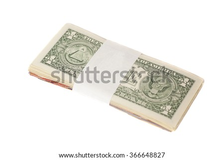 Stack of one dollar banknotes isolated on white