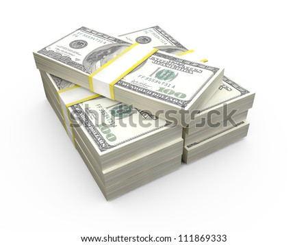 Stack of one hundred American dollar bills, isolated on white.
