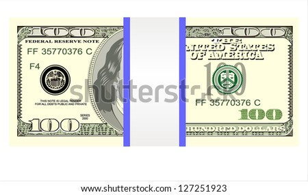 Stack of one hundred dollar bills, isolated on white.