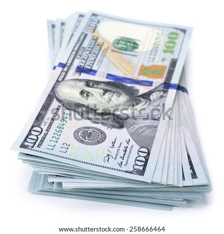 Stack of one hundred dollar bills new and old design isolated on white background. - stock photo
