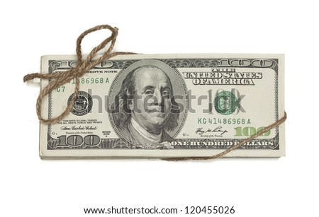 Stack of One Hundred Dollar Bills Tied in a Burlap String Isolated on a White Background.
