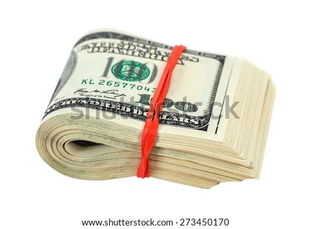 Stack of one hundred dollars banknotes wrapped by rubber on white background - stock photo