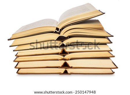 Stack of open books isolated on white background - stock photo