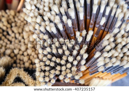 stack of painting brushes