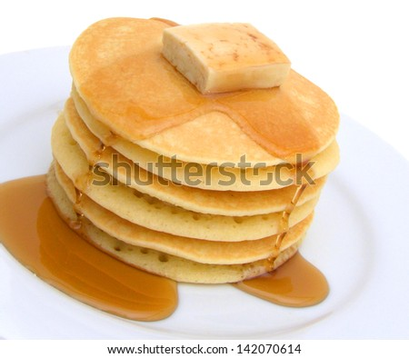 stack of pancakes with butter - stock photo