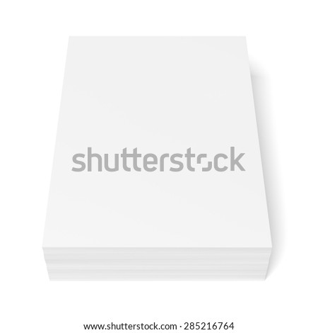 Stack of paper sheets isolated on white background