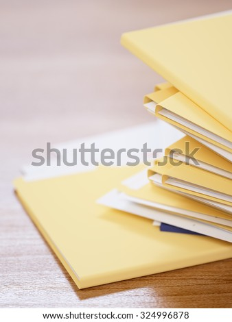 Stack of papers on a table close-up