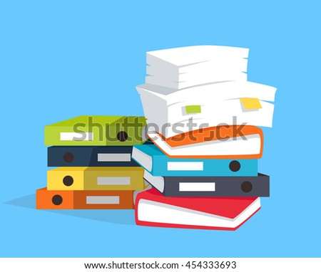 Stack of papers on blue background, flat and drop shadow theme.  illustration
