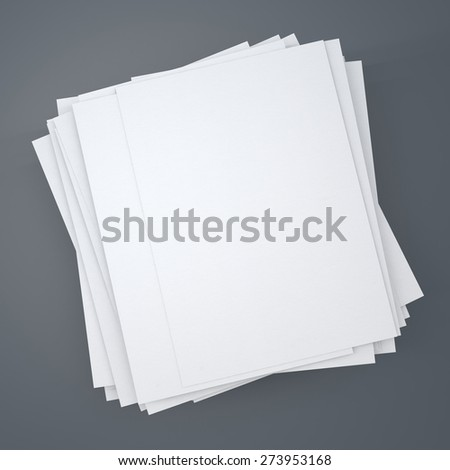 Stack of papers on grey background. - stock photo