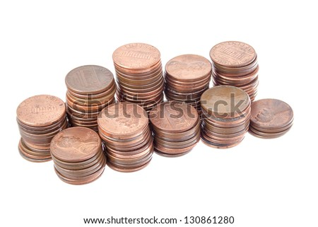 Stack of pennies isolated on white background.