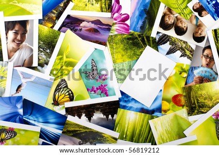 Stack of photos showing Nature, Animals, Lifestyle, Urban and Transportation, all photo belongs to me. - stock photo