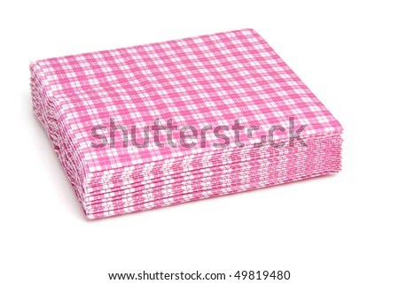 stack of pink checkered napkins isolated on white background