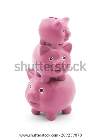 Stack of pink piggy banks  - stock photo