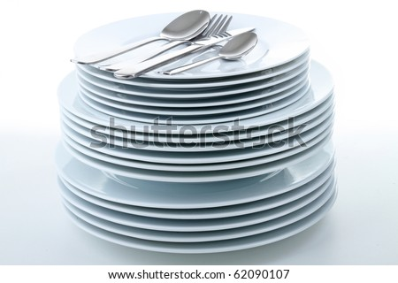 stack of plate on white background - stock photo