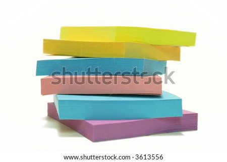 "Stack of ""post its"" isolated over white"