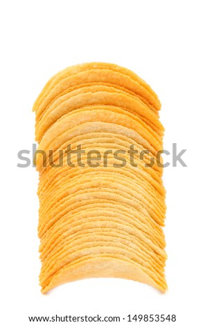 Stack of potato chips. - stock photo