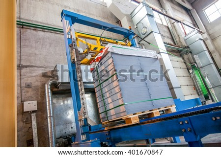 Stack of precast concrete slabs in  factory packaging step