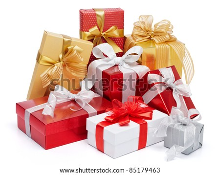 stack of presents isolated on white background - stock photo